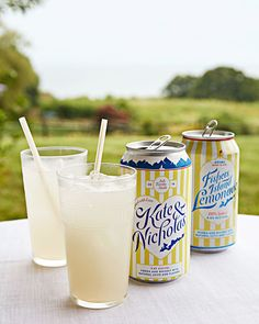 "Kate's sister, Bronya Shillo, the founder of Fishers Island Lemonade—a signature concoction of lemonade with vodka and whiskey—surprised the couple with customized cans in honor of their wedding. ""We didn't freeze any cake to celebrate a year of marriage, but we did stash a can of FIL in our fridge,"" says the bride."