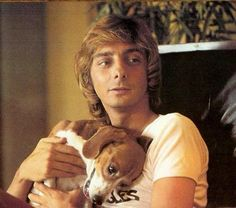 Barry Manilow and his first dog Bagel a beagle.