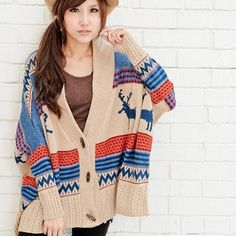 Deer-Print Oversized Toggle Cardigan