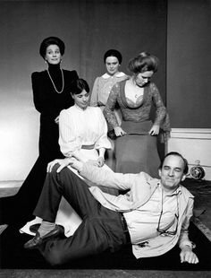 ingmar bergman with the cast of cries and whispers; ingrid thulin, harriet andersson, kari sylwan  liv ullmann