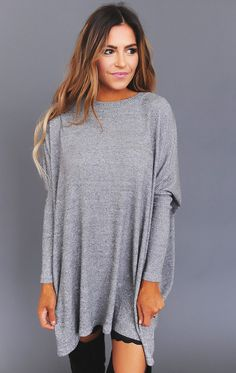 Grey Over-Sized Soft Ribbed Tunic - Dottie Couture Boutique