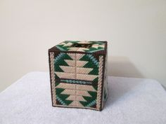 Tribal Motif Tissue Topper by CraftsforSalebyJune on Etsy Plastic Canvas Tissue Boxes, Plastic Canvas Crafts, Plastic Canvas Patterns, Canvas Picture Frames, Kleenex Box, Santas Workshop, Snowflake Designs, Tissue Box Covers, Covered Boxes