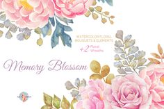 Memory Blossom Watercolor Clipart by AurAandTheCat on Creative Market