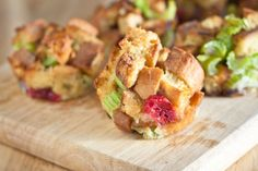 Stuffing Muffins   These are a few of our favorite things — cranberries, celery and sage —  baked with bread cubes into a bite-sized muffin shape. Get the recipe at Magda's Cauldron »