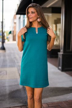 "You'll gather up tons of love and compliments in this teal beauty! The shift fit will flatter you while the soft material keeps you comfy! The color is perfect for fall and we know you'll wear this cutie over and over!   Bra-friendly! Material has fair amount of stretch. Fully lined.  Miranda is wearing the small.   Sizes fit:  Small- 0-4; Medium- 6; Large- 8   Length from shoulder to hem: S- 33.5""; M- 34.5""; L- 35.5""."