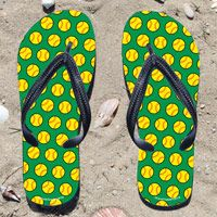 Softball Pattern on Green Flip Flops - Kick back after a softball game with these great flip flops! Fun and functional flip flops for all softball players and fans.