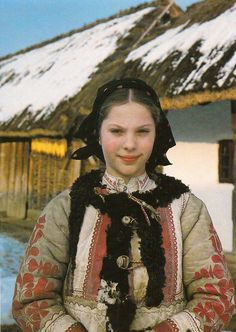 hungarian Girl wearing a Sheepskin jacket (Kodmon - Hungary Hungarian Girls, Costumes Around The World, Sheepskin Jacket, Textiles, Ethnic Dress, Folk Costume, My Heritage, World Cultures, Ethnic Fashion