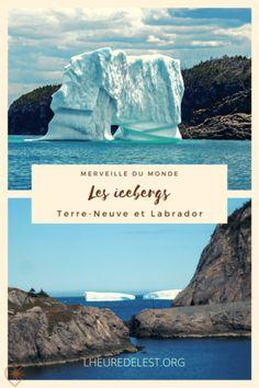 Tous les printemps, le long des côtes du Labrador et de l'île de Terre-Neuve, on assiste à l'éblouissant spectacle de la dérive des icebergs. #iceberg #terreneuve #newfoundland #spring #printemps Film Titanic, Iceberg, Newfoundland And Labrador, Blog Voyage, Canada, Spectacle, Road Trips, Outdoor, Spring
