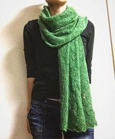 T.Stole by Yoko Hatta (風工房) | malabrigo Lace in Verde Adriana Cowl Scarf, Shawl, Yoko, Cowls, Scarfs, Knits, Knit Crochet, Knitting, Lace