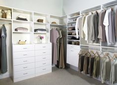 Using the right combinations of shelves, drawers and rods, transform your closet into  a truly organized space for your clothing and accessories.
