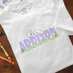 You have to love the adorable bunny ears on top of your son or daughter's name on these cute t-shirts! They'd make a great Easter Basket Stuffer!