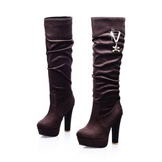 Maymeenth Womens Round Closed Toe High Heels Imitated Suede Short Plush Solid Boots with Skull Heads Brown 85 BM US ** Check out this great product.