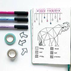 Bullet journal monthly mood tracker, elephant drawing, geometric animal drawing, geometric pattern drawing. | @tonisjournal