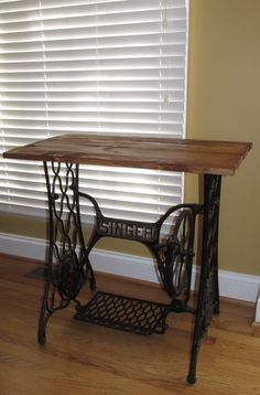 Antique Rustic Industrial Steam Punk Cast Iron Base Console Hall Table / Desk - Hand crafted Barn wood ( and Bottom is an 1880's Singer Cast iron sewing machine base and it is as pictured.  Reasonable offers are entertained