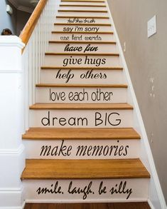 Family Wall Decal Quote Love Each Other Art Mural Stair Riser Vinyl Sticker Home Bedroom Stairs Decor Dorm Living Room Design Interior Black (Step Quotes Love) Stair Art, Stair Decor, Painted Staircases, Painted Stairs, Spiral Staircases, Deco Depot, Interior Design Living Room, Living Room Designs, Family Wall