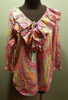 Lauren Ralph Lauren Multi Color Floral Ruffled Front Cotton Dress Blouse L Euc #LaurenRalphLauren #Blouse #CareerDress $24