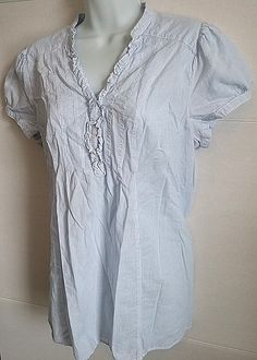 MAMA MATERNITY H&M BLUE WHITE PINSTRIPE SHORT SLEEVE T-SHIRT TOP BLOUSE LARGE #HM #KnitTop