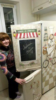 Купить Роспись холодильника Французский повар:) - комбинированный, роспись холодильника, роспись на холодильнике, декор холодильника