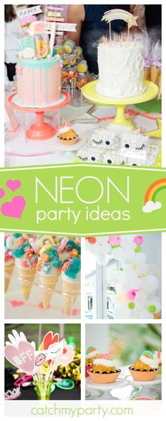 Take a look at this colorful Neon birthday party! The birthday cakes are awesome!! See more party ideas and share yours at CatchMyParty.com #partyideas #neon #rainbow #patches
