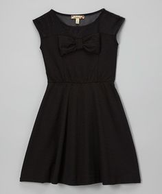 Another great find on #zulily! Black Bow Skater Dress - Girls by Speechless #zulilyfinds