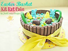 Easter Kit Kat Cake tutorial; Fun Easter Baking with Kids: Can't wait to make this excited :-)