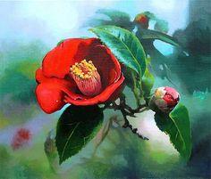 제주도 카멜리아 힐에서 본 동백꽃 Watercolor And Ink, Watercolor Flowers, Watercolor Paintings, Amarillis, Daily Painters, Watercolor Techniques, Flower Art, Peonies, Beautiful Flowers