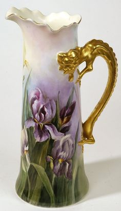 Gorgeous Limoges Pitcher with beautiful hand-painted iris design, and a gold handle. Antique Dishes, Antique China, Vintage China, Vintage Tea, Porcelain Vase, Fine Porcelain, Painted Porcelain, Hand Painted, Limoges China