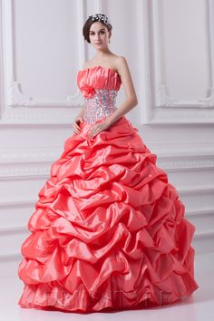 2013 Ball Gown Floor-length Strapless Zip-up Taffeta Sequined Water Melon Quinceanera Dresses
