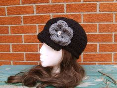 Black Newsboy Cap with Grey Removeable Flower by glamourbeads, $22.00