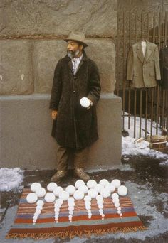 ❤ =^..^= ❤   It's that time of year again…David Hammons, selling snowballs outside of Cooper Union, 1983