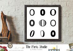 Instant Download Minimalist Typographic Numeric Art: 9 Zeros