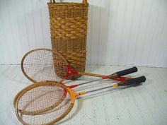 Retro Wooden Badminton Rackets Trio - Vintage Mid Century OutDoor Sports 3 Pieces Set - Repurpose Gameroom Decor - 3 Rackets Collection $31.00 by DivineOrders