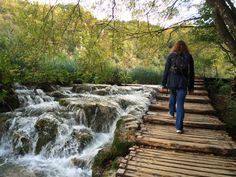 Walking in Plitvice Lakes national park Croatia