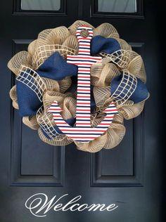 Summer Wreath - Anchor , Nautical , Red White and Blue Striped Fabric , Deco Mesh , Net Ribbon , Navy Burlap - Wreath