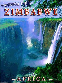 Victoria Falls Zimbabwe Africa African Pride Travel Art Poster Advertisement | eBay