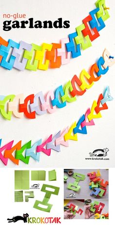 free pattern for cute No-Glue Garlands from paper by Krokotak School Decorations, Paper Decorations, Winter Crafts For Kids, Diy For Kids, Kirigami, Diy Paper, Paper Crafts, Diy Birthday Banner, Xmas