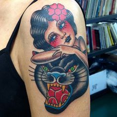 tattoo old school / traditional nautic ink - doll face / panther with pinup