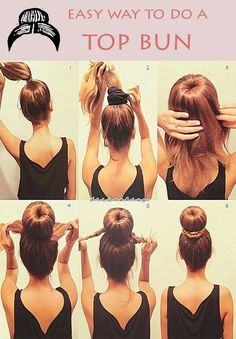 Sock Bun Tutorial: This is much easier than trying to roll the hair down with the sock ring. It is well suited for medium-length layered hair and for wet hair. However, I skip step 1 and just pull all my hair through the sock ring, then I add the hair tie Pretty Hairstyles, Easy Hairstyles, Hairstyles 2018, Updo Hairstyle, Donut Hairstyle, School Hairstyles, Hairstyle Ideas, Wedding Hairstyles, Teenage Hairstyles
