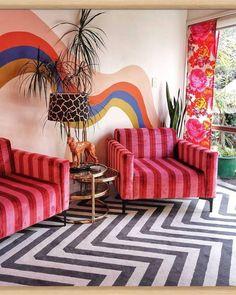 What is happy design? The new summer 2018 Trend Memphis Design, Inspiration, Interior Desig Home Design, Design Blog, Home Interior Design, Design Ideas, Design Design, Interior Designing, Wall Design, Colorful Interior Design, Diy Interior