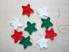 Crochet Christmas garland Christmas stars. $16.64 on Etsy. Shop: fromjeanne.