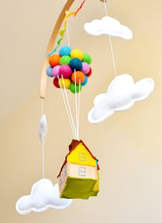 Hi! and thank you for visiting my shop! ❤ This adorable neutral gender baby mobile will capture everyones attention and would make the cutest addition to any nursery decor. ❤  It features a colorful flying house with balloons and surrounded by clouds. The felt ball balloons are needle felted in rainbow colors wool felt. The house and the clouds are handmade with 100% wool felt, filled with hypo-allergenic polyester stuffing. The mobile base is handmade by me with wood and can be painted in…