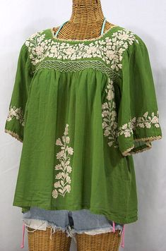 Mexican Peasant Blouse Top Hand Embroidered: La Marina Fern Green