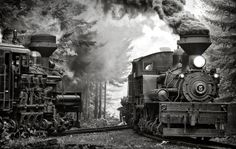 """One Morning"" Cass Shay train  railroad steam locomotive"