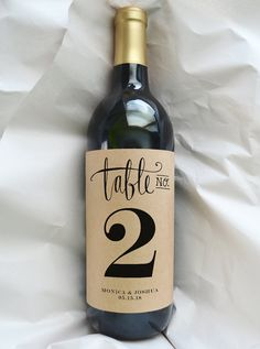 Table Number Wine Bottle Label - Table Number Wedding - Custom Table Marker - Kraft Label - Pack of 4 Labels