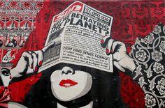 Shepard Fairey wall art