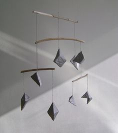 Silver Paper Crystal and Driftwood Mobile by ThingsTogether $85