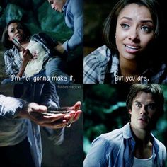 She sacrificed herself for Damon. That's true love right there. The Vampire Diaries Characters, Vampire Diaries Quotes, Vampire Diaries Cast, Vampire Diaries The Originals, Damon And Bonnie, Damon And Stefan, Damon Salvatore Quotes, Ian Somerhalder Vampire Diaries, Vampire Daries