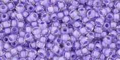 Toho 11/0 Round Japanese Seed Bead, TR11-966, Inside Color Crystal/Purple Lined