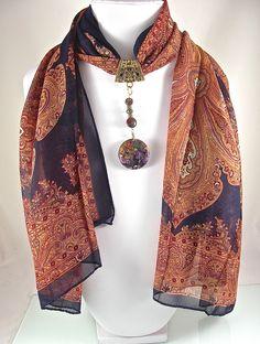 Bijou de foulard sur bélière avec foulard, jaspe et agate sur métal doré - 280115-BJ-004 : Echarpe, foulard, cravate par si-mes-perles-etaient-contees