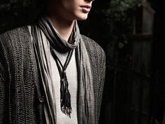 John Varvatos Collection Spring 2012 grey cardigan and scarf